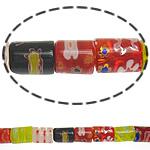Millefiori Glass Beads, Kolonë, ngjyra të përziera, 10x8mm, :16Inç, 10Fillesat/Shumë,  Shumë