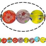 Millefiori Glass Beads, Round Flat, ngjyra të përziera, 16x3mm, :14.5Inç, 10Fillesat/Shumë,  Shumë