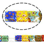 Millefiori Glass Beads, Drejtkëndësh, ngjyra të përziera, 10x10x3.50mm, :16Inç, 10Fillesat/Shumë,  Shumë