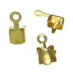 Këshilla Cord tunxh, ngjyrë ari praruar, asnjë, , nikel çojë \x26amp; kadmium falas, 5x9.8x4.6mm, 4.3x4.3mm, : 1.5mm, 3000PC/Qese,  Qese