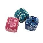 Beads polimer balta, Polymer Clay, Katror, asnjë, ngjyra të përziera, 11mm, : 2mm, 20PC/Qese,  Qese