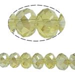Rondell Kristallperlen, Kristall, AA grade crystal, limonengelb, 6x8mm, Bohrung:ca. 1mm, Länge:15 ZollInch, 10SträngeStrang/Tasche, verkauft von Tasche
