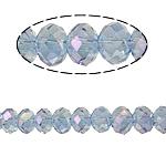 Rondelle Beads Crystal, Kristal, imitim kristal Swarovski, Lt Sapphire, 6x8mm, : 1mm, :15Inç, 10Fillesat/Qese,  Qese