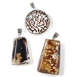 Agat pendants bizhuteri, Ice Flower agat, Nuggets, 29-38mm, : 7x4.5mm, 5PC/Qese,  Qese