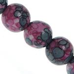 Regen Blumen Stein Perlen, rund, synthetisch, 6mm, Bohrung:ca. 1mm, Länge:ca. 16 ZollInch, 5SträngeStrang/Menge, verkauft von Menge