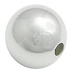 Beads bizhuteri bronzi, Tunxh, Round, Ngjyra argjend praruar, 10mm, : 2mm, 500PC/Qese,  Qese