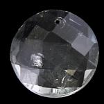 KRISTALLanhänger, Kristall, flache Runde, Kristall, 18x7mm, Bohrung:ca. 1mm, 10PCs/Tasche, verkauft von Tasche