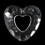 Crystal Pendants, Kristal, Zemër, Kristal, 33x30x9mm, : 2mm,  PC