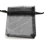 Drawstring çanta bizhuteri, Organza, i tejdukshëm, e zezë, 70x90mm, 100PC/Qese,  Qese