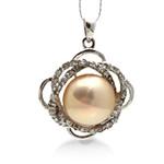 Pendants Pearl ujërave të ëmbla, Pearl kulturuar ujërave të ëmbla, with Diamant i rremë & 925 Sterling Silver, Round, natyror, i verdhë, AAA, 21x27mm, : 3x3mm,  PC