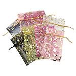 Drawstring çanta bizhuteri, Organza, shtypje, i tejdukshëm, ngjyra të përziera, 50x70mm, 100PC/Qese,  Qese