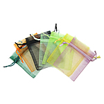 Drawstring çanta bizhuteri, Organza, i tejdukshëm, ngjyra të përziera, 70x90mm, 100PC/Qese,  Qese