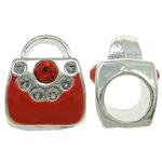 Beads European aliazh zink, Alloy zink, Kuletë, asnjë, pa karrem & smalt & me diamant i rremë, i kuq, , nikel çojë \x26amp; kadmium falas, 9x11x8mm, : 5mm, 10PC/Qese,  Qese