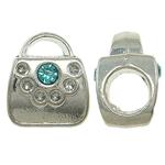 Beads European aliazh zink, Alloy zink, Kuletë, pa karrem & me diamant i rremë, , nikel çojë \x26amp; kadmium falas, 9x11x8mm, : 5mm, 10PC/Qese,  Qese