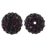 Harz Perlen Strass, rund, mit Strass, dunkelviolett, 12x12mm, Bohrung:ca. 1mm, 10PCs/Tasche, verkauft von Tasche