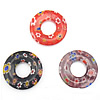 Millefiori Glass Pendants, Donut, more colors for choice, 22x22x4mm, Hole:Approx 7MM , Sold by PC