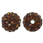 Rrëshirë Beads diamant i rremë, Round, asnjë, me diamant i rremë, Topaz tymosur, 10x10mm, : 2mm, 10PC/Qese,  Qese