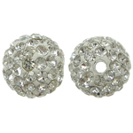Rrëshirë Beads diamant i rremë, Round, asnjë, me diamant i rremë, Kristal, 10x10mm, : 2mm, 10PC/Qese,  Qese