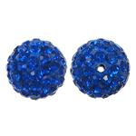 Rrëshirë Beads diamant i rremë, Round, asnjë, me diamant i rremë, Cobalt Blue, 12x12mm, : 1.5mm, 10PC/Qese,  Qese