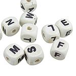 Beads druri, Kub, i lyer, e bardhë, 10mm, : 3mm, 100PC/Qese,  Qese