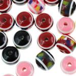 Beads bizhuteri Rrëshirë, Round, asnjë, qetë, ngjyra të përziera, 10mm, : 2mm, 100PC/Qese,  Qese