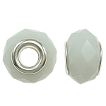 European Beads Crystal, Kristal, Rondelle, core argjendi i pastër me dy pa karrem, White alabaster, 14x10mm, : 5mm, 20PC/Qese,  Qese