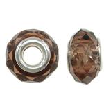 European Beads Crystal, Kristal, Rondelle, core argjendi i pastër me dy pa karrem, Tym kuarc, 14x8mm, : 5mm, 20PC/Qese,  Qese