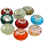 European Beads Crystal, Kristal, Rondelle, core argjendi i pastër me dy pa karrem, ngjyra të përziera, 14x9mm, : 4mm, 10PC/Qese,  Qese
