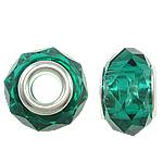 European Beads Crystal, Kristal, Rondelle, core argjendi i pastër me dy pa karrem, Smerald, 14x9mm, : 5mm, 20PC/Qese,  Qese