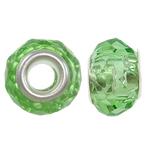European Beads Crystal, Kristal, Rondelle, core argjendi i pastër me dy pa karrem, Peridot, 14x9mm, : 5mm, 20PC/Qese,  Qese