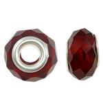 European Beads Crystal, Kristal, Rondelle, core argjendi i pastër me dy pa karrem, rubin, 14x9mm, : 5mm, :5, 20PC/Qese,  Qese
