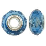 European Beads Crystal, Kristal, Rondelle, core argjendi i pastër me dy pa karrem, Lt Sapphire, 14x9mm, : 5mm, 20PC/Qese,  Qese