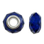 European Kristall Perlen, Rondell, Sterling Silber-Dual-Core ohne troll, tiefblau, 14x9mm, Bohrung:ca. 5mm, 20PCs/Tasche, verkauft von Tasche