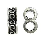 Beads European aliazh zink, Alloy zink, pa karrem & smalt, , nikel çojë \x26amp; kadmium falas, 6x16x9mm, : 5mm, 10PC/Qese,  Qese