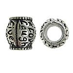 Zink Legierung Europa Perlen, Zinklegierung, Trommel, antik silberfarben plattiert, ohne troll & Emaille, frei von Nickel, Blei & Kadmium, 10x10mm, Bohrung:ca. 5mm, verkauft von PC