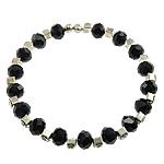Bracelets Crystal, Kristal, with Tunxh, Rondelle, faceted & me diamant i rremë, Reaktiv, 5x8mm, :7Inç, 50Fillesat/Qese,  Qese