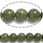 Beads ruse gjarpri, Russian Serpentine, Round, natyror, 10mm, : 1.5mm, : 15.5Inç, 10Fillesat/Shumë,  Shumë