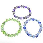 Bracelets Crystal, Kristal, with Rrëshirë & Tunxh, Rondelle, faceted & me diamant i rremë, ngjyra të përziera, 10mm, 10x7.5mm,8x3mm, : 7Inç, 20Fillesat/Shumë,  Shumë