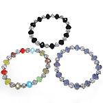 Bracelets Crystal, Kristal, with Rrëshirë, Rondelle, faceted, ngjyra të përziera, 10x7.5mm, 8x8x7mm, : 7Inç, 20Fillesat/Shumë,  Shumë