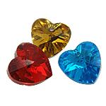 Crystal Pendants, Kristal, Zemër, ngjyra të përziera, 10x10x5mm, : 1mm, 10PC/Qese,  Qese