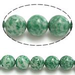 Beads Stone gjelbër Spot, Round, natyror, 12mm, : 1.5mm, : 15.5Inç, 10Fillesat/Shumë,  Shumë