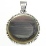 Pendants Natyrore Zi Shell, Black Shell, Round Flat, natyror, 20x20x5.50mm, : 4x5mm, 10PC/Shumë,  Shumë