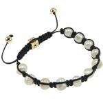 Ujërave të ëmbla Pearl Shamballa Bracelets, Pearl kulturuar ujërave të ëmbla, with Cord Wax & Diamant i rremë & Alloy zink, Shape Tjera, e bardhë, 6x9mm, :7.5Inç,  7.5Inç,