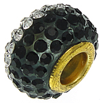 Rrëshirë Beads European, Rondelle, ngjyrë ari praruar, core bronzi të dyfishtë pa karrem & me diamant i rremë, e zezë, 9.50x14.50mm, : 5.2mm, 20PC/Qese,  Qese