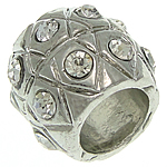 Beads European aliazh zink, Alloy zink, Daulle, ngjyrë platin praruar, pa karrem & me diamant i rremë, asnjë, , nikel çojë \x26amp; kadmium falas, 11.80x10mm, : 6.5mm, 50PC/Qese,  Qese