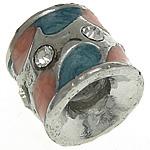 Beads European aliazh zink, Alloy zink, Tub, ngjyrë platin praruar, pa karrem & smalt & me diamant i rremë, asnjë, , nikel çojë \x26amp; kadmium falas, 10.50x9.50mm, : 4mm, 50PC/Qese,  Qese