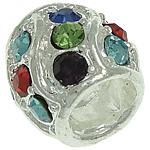 Beads European aliazh zink, Alloy zink, Daulle, Ngjyra argjend praruar, pa karrem & me diamant i rremë, asnjë, , nikel çojë \x26amp; kadmium falas, 13.30x12.20mm, : 6.5mm, 30PC/Qese,  Qese