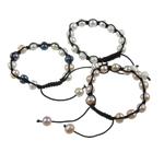 Ujërave të ëmbla Pearl Shamballa Bracelets, Pearl kulturuar ujërave të ëmbla, with Cord najlon, Shape Tjera, punuar me dorë, ngjyra të përziera, 9-10mm, :6.5Inç, 10Fillesat/Qese,  Qese