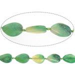 Beads Dashuri Green agat, Jeshile agat, Lot, 25-26x32-35x6-7mm, : 2-2.5mm, : 14.5Inç, 5Fillesat/Shumë,  Shumë