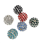 Beads bizhuteri Diamant i rremë, Round, asnjë, me diamant i rremë, ngjyra të përziera, 12.50mm, : 2.2mm, 50PC/Qese,  Qese